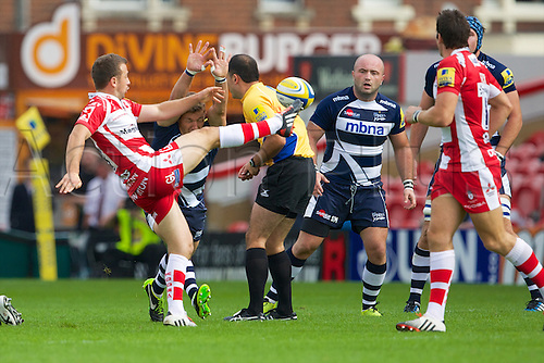 13.09.2014.  Gloucester, England.  Aviva Premiership. Gloucester Rugby versus Sale Sharks. Gloucester Rugby scrum-half Greig Laidlaw and Sale Sharks scrum-half Chris Cusiter in action.