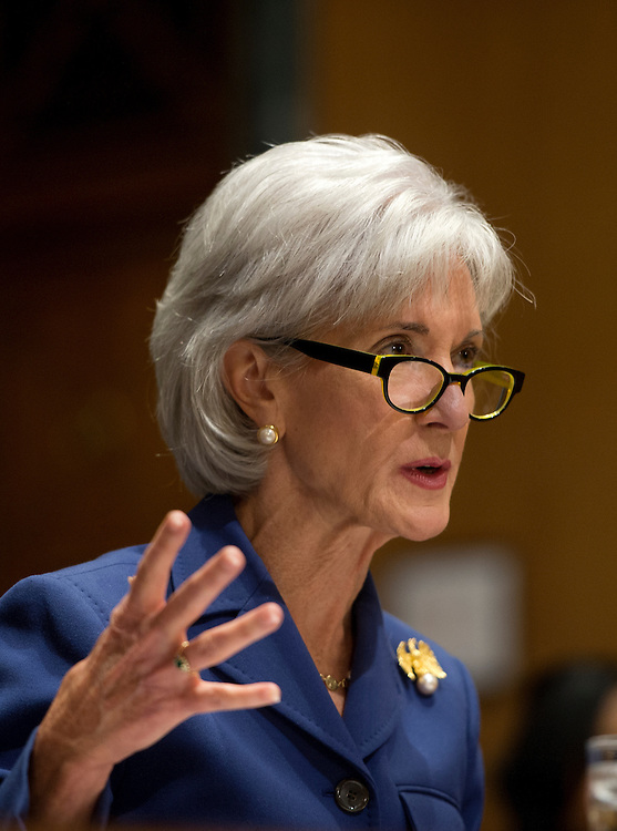 UNITED STATES - Nov 6: Health and Human Services Secretary Kathleen Sebelius answers questions about the error-plagued launch of Healthcare.gov while testifying before the Senate Finance Committee in the Dirksen Senate Office Building on Capitol Hill November 6, 2013 in Washington, DC. Sebelius faced tough questions from both Republicans and Democrats about the website supporting the Affordable Care Act.  (Photo By Douglas Graham/CQ Roll Call)