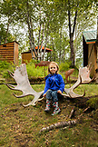 USA, Alaska, Redoubt Bay, Big River Lake, hanging out on the grounds at Redoubt Bay Lodge, Moose Rack