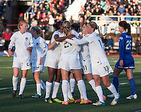 In a National Women's Soccer League Elite (NWSL) match, the Boston Breakers and  Washington Spirit drew 1-1, at the Dilboy Stadium on April 14, 2012.  The Spirit celebrate after their goal in the first half.
