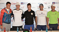 BOGOTA -COLOMBIA. 12-07-2014. Bernard Tomic (AUS), Alejandro Gonzalez (COL), Richard Gasquet (FRA), Juan Sebastian Cabal (COL) y Alejandro Falla (COL) durante rueda de prensa previo al inicio del Claro Open Colombia 2014 a realizarse en la ciudad de Bogotá entre el  14 y el  20 de julio./ Bernard Tomic (AUS), Alejandro Gonzalez (COL), Richard Gasquet (FRA), Juan Sebastian Cabal (COL) y Alejandro Falla (COL) during a press conference prior of the start of Claro Open Colombia 2014 to be held in Bogota between July 14-20. Photo: VizzorImage/ Gabriel Aponte / Staff