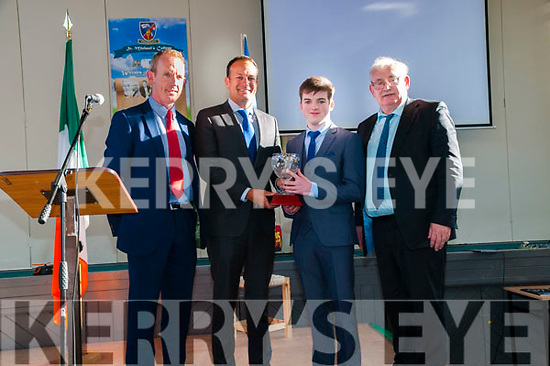Award:Taoiseach Leo Varadkar presenting an award to Darragh McAuliffefor achieving 625 points in his leaving certificate results at St. Michael's College, Listowel on Friday evening last. L-R: Deputy Principal Liam Hassett, Taoiseach Leo Varadkar, Darragh McAuliffe & Principal Johnny Mulvihill.