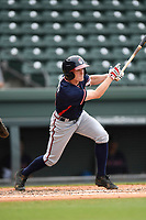 Shortstop Marcus Mooney (2) of the Rome Braves bats in game one of a doubleheader against the Greenville Drive on Tuesday, May 30, 2017, at Fluor Field at the West End in Greenville, South Carolina. Rome won, 10-7. (Tom Priddy/Four Seam Images)