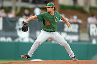 Pitcher AJ Salcines #16 delivers a pitch during a  game against the Clemson Tigers at Doug Kingsmore Stadium on March 31, 2012 in Clemson, South Carolina. The Tigers won the game 3-1. (Tony Farlow/Four Seam Images)..