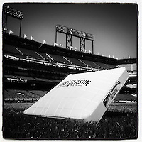 SAN FRANCISCO, CA - OCTOBER 7: Instagram of a postseason base on the field before Game 4 of the NLDS between the Washington Nationals and San Francisco Giants at AT&T Park on October 7, 2014 in San Francisco, California. Photo by Brad Mangin