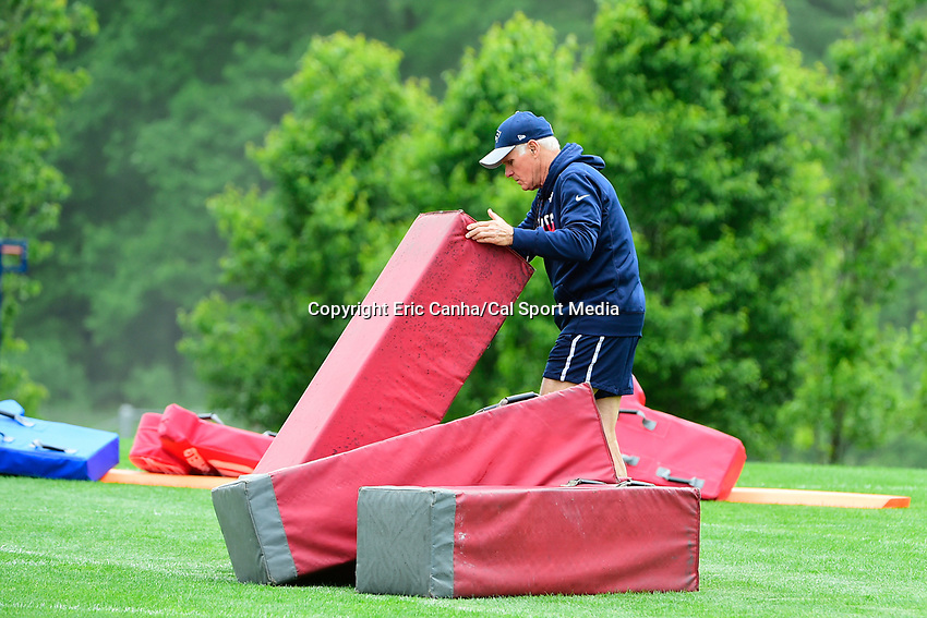 June 7, 2017: New England Patriots offensive line coach Dante Scarnecchia prepares equipment at the New England Patriots mini camp held on the practice field at Gillette Stadium, in Foxborough, Massachusetts. Eric Canha/CSM
