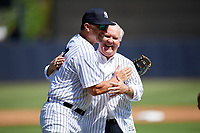 Tampa mayor Bob Buckhorn with Tino Martinez (24) after throwing out the ceremonial first pitch before a New York Yankees Grapefruit League Spring Training game against the Toronto Blue Jays on February 25, 2019 at George M. Steinbrenner Field in Tampa, Florida.  Yankees defeated the Blue Jays 3-0.  (Mike Janes/Four Seam Images)