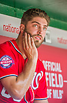 24 May 2015: Washington Nationals pitcher Matt Grace glances up at the scoreboard during a game against the Philadelphia Phillies at Nationals Park in Washington, DC. The Nationals defeated the Phillies 4-1 to take the rubber game of their 3-game weekend series. Mandatory Credit: Ed Wolfstein Photo *** RAW (NEF) Image File Available ***