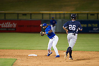 AZL Cubs shortstop Delvin Zinn (21) attempts to turn a double play during a game against the AZL Padres 2 on August 28, 2017 at Sloan Park in Mesa, Arizona. AZL Cubs defeated the AZL Padres 2 9-4. (Zachary Lucy/Four Seam Images)