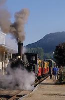 Europe, France, Midi-Pyrénées, 46, Lot, Saint-Denis-Près-Martel : Chemin de fer touristique du nord Quercy  // France, Midi-Pyrenees, Lot, Saint-Denis-Près-Martel: Tourist railway of Haut-Quercy , Steam Train of Martel – The Truffle Train