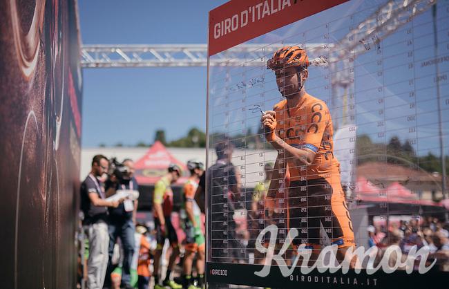 Simone Ponzi (ITA/CCC-Sprandi Polkowice) signing on (the wrong number btw... he's #76)<br /> <br /> Stage 15: Valdengo &rsaquo; Bergamo (199km)<br /> 100th Giro d'Italia 2017
