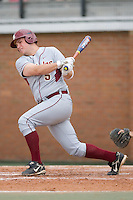 Jack Posey (5) of the Florida State Seminoles follows through on his swing versus the Wake Forest Demon Deacons at Gene Hooks Stadium on the campus of Wake Forest University in Winston-Salem, NC, Friday, March 28, 2008.