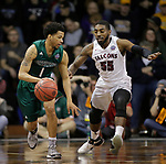 SIOUX FALLS, SD: MARCH 25:  Justin Pitts #1 of Northwest Missouri State drives toward Shammgod Wells #55 of Fairmont State during the Men's Division II Basketball Championship game on March 25, 2017 at the Denny Sanford Premier Center in Sioux Falls, SD. (Photo by Dick Carlson/Inertia)