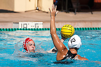Stanford, CA - April 28, 2019: Madison Berggren during the Stanford vs USC MPSF Women's Water Polo Championship Sunday at the Avery Aquatic Center.<br /> <br /> No. 1 Stanford lost the MPSF Championship in sudden death to the No. 2 Trojans, 9-8.