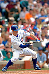 1 July 2005: Mark Prior, starting pitcher for the Chicago Cubs, lays down a bunt in a game against the Washington Nationals. The visiting Nationals defeated the Cubs 4-3 at Wrigley Field in Chicago.  Mandatory Photo Credit: Ed Wolfstein