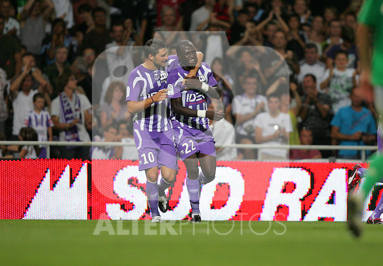 Andre-Pierre Gignac celebrates with Moussa Sissoko after he scores the third goal for Toulouse in the second half. Toulouse v Saint Etienne (3-1), 2eme Journee, Ligue 1 2009/2010, Stade Municipal, Toulouse, France, 15th August 2009.
