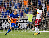 Cincinnati, OH - Tuesday August 15, 2017: Corben Bone celebrates his goal during a 2017 U.S. Open Cup game between FC Cincinnati vs New York Red Bulls at Nippert Stadium.