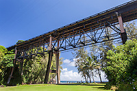 Large steel bridge over Kolekole Beach Park in Honomu, Big Island.