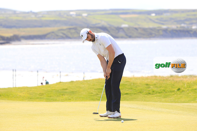 Mark Morrissey (Mount Wolseley) on the 3rd green during Round 2 of the South of Ireland Amateur Open Championship at LaHinch Golf Club on Thursday 23rd July 2015.<br /> Picture:  Golffile | Thos Caffrey