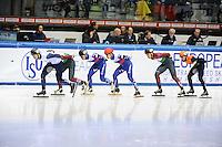 SHORT TRACK: TORINO: 15-01-2017, Palavela, ISU European Short Track Speed Skating Championships, 3000m SF Men, Vladislav Bykanov (ISR), Victor An (RUS), Semen Elistratov (RUS), Shaolin Sandor Liu (HUN), Sjinkie Knegt (NED), ©photo Martin de Jong