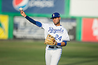 Emmanuel Rivera (24) of the Burlington Royals warms up in the outfield prior to the game against the Princeton Rays at Burlington Athletic Stadium on June 24, 2016 in Burlington, North Carolina.  The Rays defeated the Royals 16-2.  (Brian Westerholt/Four Seam Images)