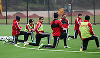 Pictured: Neil Taylor back in training following a long recovery from his injury<br /> Swansea City Football Training, Swansea, 07/03/13