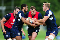 Michael van Vuuren of Bath Rugby takes on the defence. Bath Rugby pre-season training session on August 9, 2016 at Farleigh House in Bath, England. Photo by: Patrick Khachfe / Onside Images