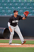 Chattanooga Lookouts first baseman Jonathan Rodriguez (30) waits to receive a throw during a game against the Jackson Generals on April 27, 2017 at The Ballpark at Jackson in Jackson, Tennessee.  Chattanooga defeated Jackson 5-4.  (Mike Janes/Four Seam Images)