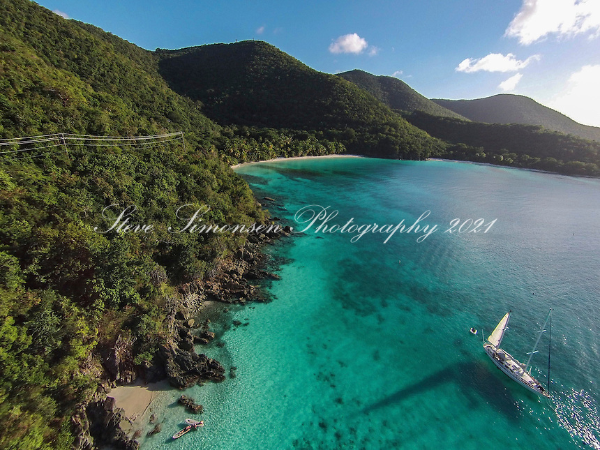 Aerial view of Gibney and Hawksnest Beaches<br />