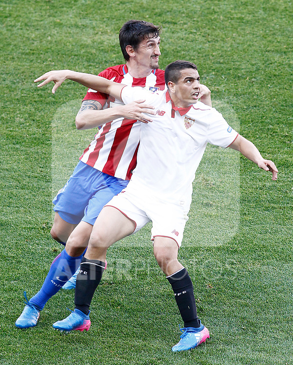 Atletico de Madrid's Stefan Savic (l) and Sevilla FC's Wissam Ben Yedder during La Liga match. March 19,2017. (ALTERPHOTOS/Acero)