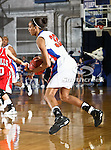 Texas - Arlington Mavericks forward Shalyn Martin (32) dribbles aorund in the game between the UTA Mavericks and the  Nicholls State University Colonels  held at the University of Texas in Arlington's Texas Hall in Arlington, Texas. UTA defeats Nicholls 69 to 62
