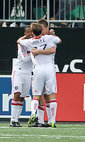 16 May 09: Chicago Fire players celebrate the second goal during action at BMO Field in a game between the Chicago Fire and Toronto FC..Chicago Fire won 2-0..