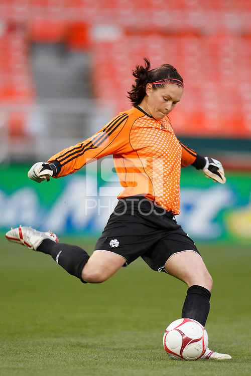 Canada goalkeeper Erin McLeod (18). The women's national team of the United States defeated Canada 6-0 during an international friendly at Robert F. Kennedy Memorial Stadium in Washington, D. C., on May 10, 2008.