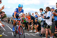 Picture by Alex Whitehead/SWpix.com - 13/09/2014 - Cycling - 2014 Friends Life Tour of Britain - Stage 7, Camberley to Brighton - Garmin-Sharp's Dylan van Baarle climbs up Ditchling Beacon on his way to taking the yellow jersey after Stage 7 in Brighton.