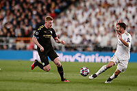26th February 2020; Estadio Santiago Bernabeu, Madrid, Spain; UEFA Champions League Football, Real Madrid versus Manchester City; Kevin De Bruyne (Manchester City)  in action against Carvajal of Real