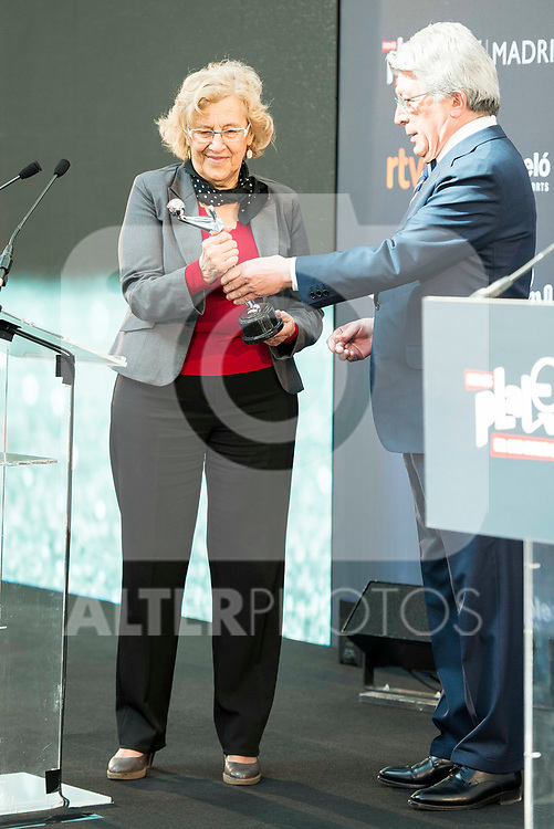 "Enrique Cerezo and Madrid Mayor Manuela Carmena attends to the presentation of the ""Premios Platino"" at Palacio de Cristal in Madrid. April 07, 2017. (ALTERPHOTOS/Borja B.Hojas)"
