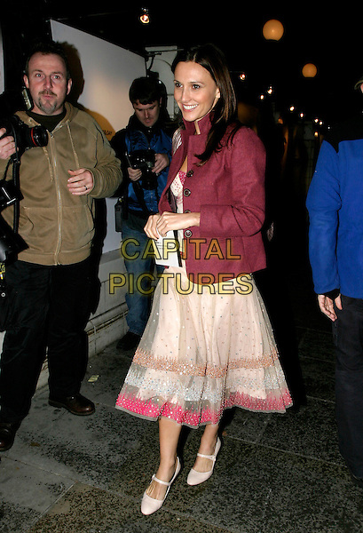 JAYNE MIDDLEMISS.The Mail On Sunday: Live - magazine relaunch party..Bluebird, King's Road, London, UK..October 18th, 2005.Ref: AH.full length pink sheer skirt purple jacket.www.capitalpictures.com.sales@capitalpictures.com.© Capital Pictures.