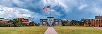 Flag on Drill Field during rain - panorama.<br />  (photo by Robert Lewis / &copy; Mississippi State University)