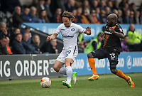 Sam Saunders of Wycombe Wanderers & Jamal Campbell-Ryce of Barnet during the Sky Bet League 2 match between Barnet and Wycombe Wanderers at The Hive, London, England on 17 April 2017. Photo by Andy Rowland.