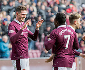 17th March 2018, Tynecastle Park, Edinburgh, Scotland; Scottish Premier League football, Heart of Midlothian versus Partick Thistle;  Kyle Lafferty of Hearts celebrates after scoring opening goal with Danny Amankwa