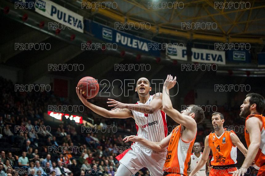 VALENCIA, SPAIN - NOVEMBER 18: Benjamin Sene during EUROCUP match between Valencia Basket Club and CAI SLUC Nancy at Fonteta Stadium on November 18, 2015 in Valencia, Spain