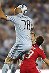 09 June 2011: Kansas City's Aurelien Collin (FRA) (78) outjumps Chicago's Corben Bone (19). Sporting Kansas City played the Chicago Fire to a 0-0 tie in the inaugural game at LIVESTRONG Sporting Park in Kansas City, Kansas in a 2011 regular season Major League Soccer game.