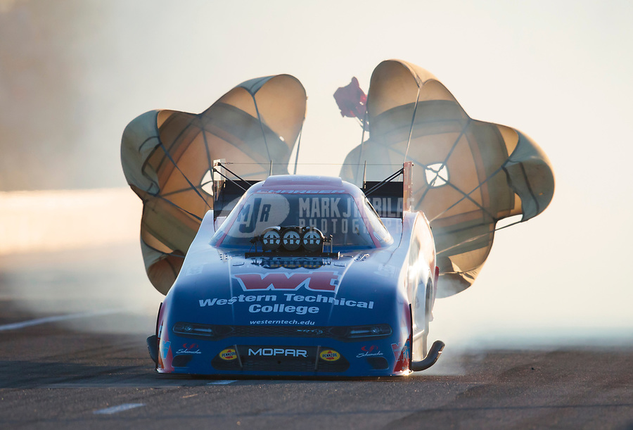 Oct 19, 2019; Ennis, TX, USA; NHRA funny car driver Matt Hagan during qualifying for the Fall Nationals at the Texas Motorplex. Mandatory Credit: Mark J. Rebilas-USA TODAY Sports