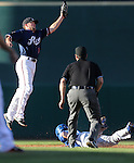 Reno Aces' Danny Worth tries to tag a Las Vegas 51s baserunner in Reno, Nev., on Sunday, July 26, 2015.<br /> Photo by Cathleen Allison