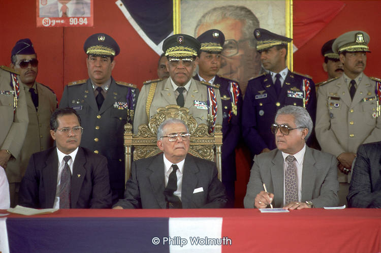 DOMINICAN REPUBLIC<br /> President Balaguer and his chiefs of staff at a rally in 1991