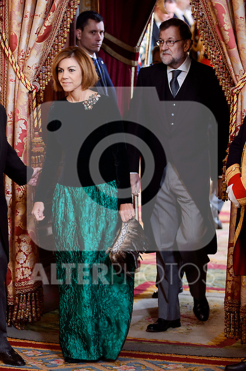 Maria Dolores de Cospedal and President Mariano Rajoy during the Military Easter at Royal Palace in Madrid, Spain. January 06, 2017. (ALTERPHOTOS/BorjaB.Hojas)