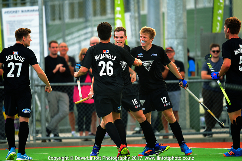 The Black Sticks celebrate their opening goal during the international men's hockey match between the NZ Black Sticks and Pakistan at Twin Turfs in Clareville, New Zealand on Wednesday, 22 March 2017. Photo: Dave Lintott / lintottphoto.co.nz