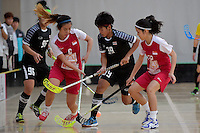 Thailand&rsquo;s Pichawee Yoola and Singapore&rsquo;s Mindy Lim in action during the World Floorball Championships 2017 Qualification for Asia Oceania Region - Singapore v Thailand at ASB Sports Centre , Wellington, New Zealand on Sunday 5 February 2017.<br /> Photo by Masanori Udagawa<br /> www.photowellington.photoshelter.com.