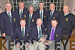Captains Galore - Former and current captains of The Olde Reserves Golfing Society pictured along with Captain's Prize winner Gene Kelly, seated left, at The Captain's Dinner held in The Ballyroe Heights Hotel on Saturday night. Seated l/r Brendan Roantree, Brian Neenan (Capt.) and Gene Kelly, standing l/r Donal O'Mahony, David Doyle, John Campbell, Mike Barry, Jim Gannon and Tom Egan.