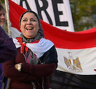 "October 23, 2011  (Washington, DC) Esraa Abdel Fatah, co-founder of the April 6 Youth Movement in Egypt, spoke to an assembly of October2011, the group that has been ""occupying"" Freedom Plaza in Washington.  During 2011, Esraa participated in the anti-Mubarak demonstrations that swept Egypt.    (Photo by Don Baxter/Media Images International)"